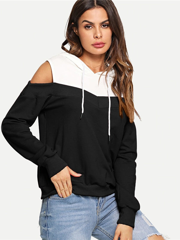 Black And White Casual Preppy Cold Shoulder Drawstring Hoodie Sweatshirt - Chic B Night