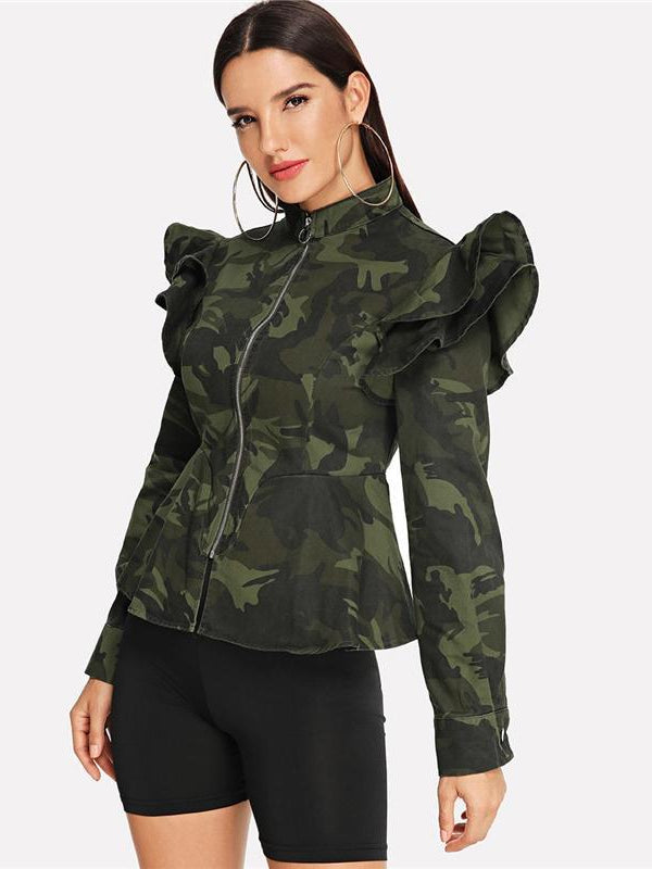 Multicolor Zip Up Ruffle Armhole Camo Peplum Coat-Chic By Night -Multi-XS-Chic By Night