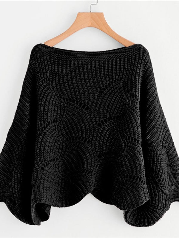 Black Preppy Solid Oversized Eyelet Detail Scallop Trim Batwing Sleeve Boat Neck Sweater - Chic B Night