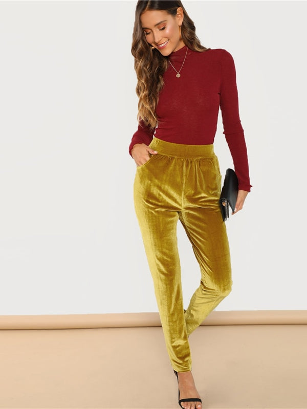 Velvet Elastic Waist Cigarette Pants-Chic By Night -Ginger-XS-Chic By Night