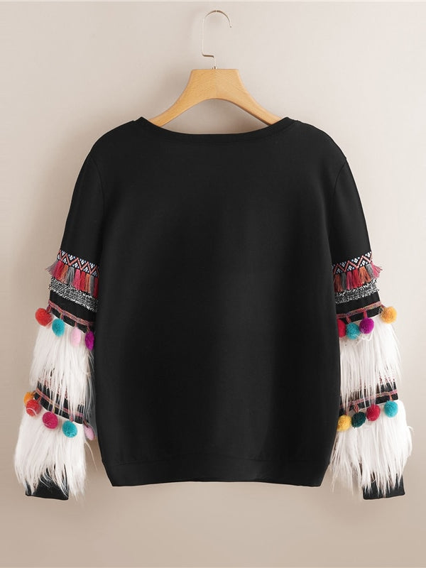 Black Faux Fur Fringe Streetwear Campus Pullovers Sweatshirt-Chic By Night -Black-XS-Chic By Night