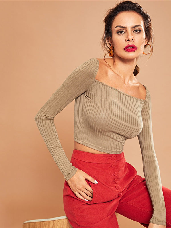 Khaki Casual Crop Solid Square Neck Ribbed Knit Long Sleeve-Chic By Night -Khaki-XS-Chic By Night