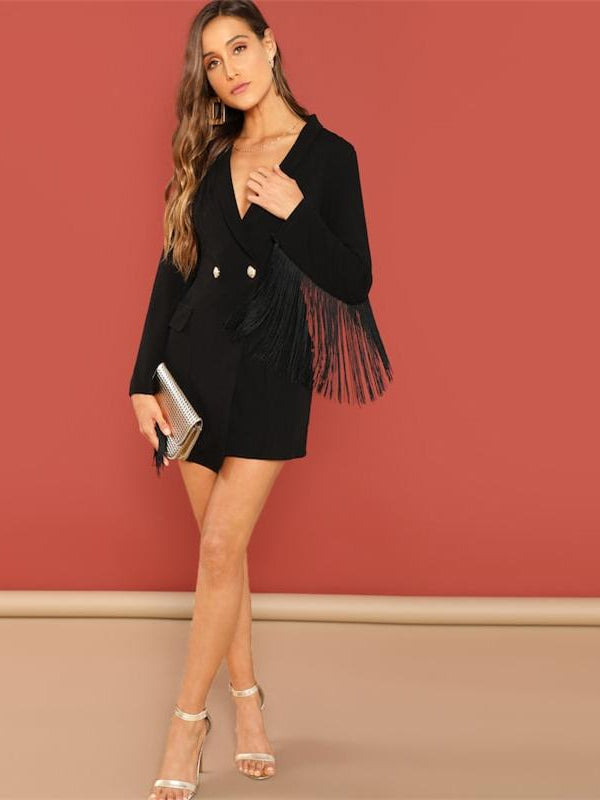 Black Office Lady Tassel Solid Single Button Trim Notched Blazer Dress - Chic B Night
