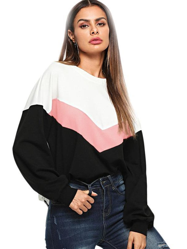 Multicolor Preppy Color Block Tunic Round Neck Elegant Pullover Sweatshirt-Chic By Night -Multi-XS-Chic By Night