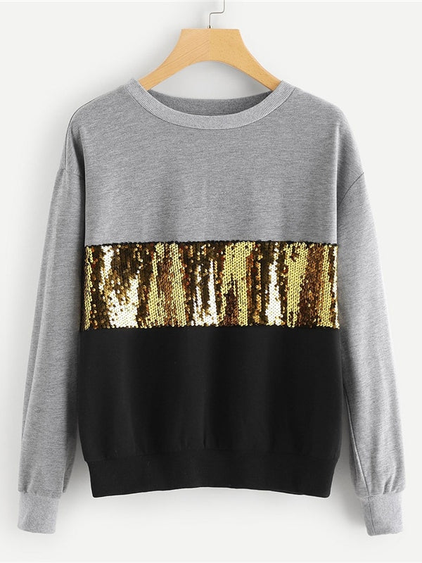 Multicolor Contrast Sequin Cut and Sew Sweatshirt - Chic B Night