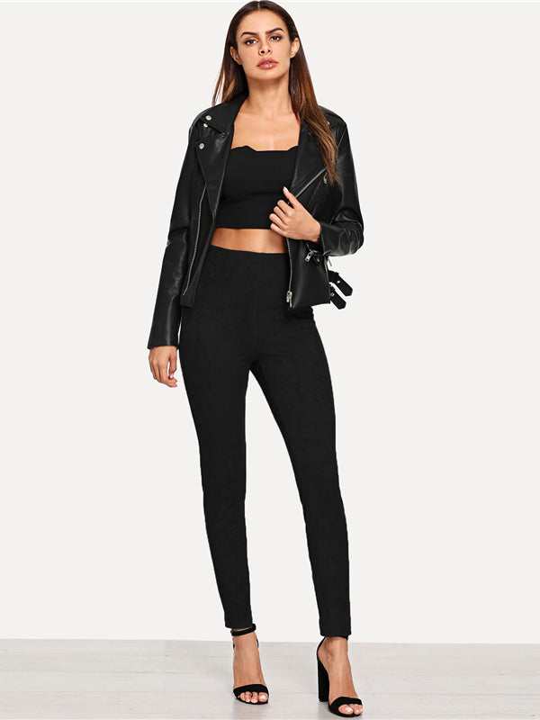 Lady Solid Suede Long Leggings-Chic By Night -Black-XS-Chic By Night