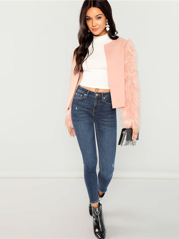 Pink Weekend Casual Open Round Neck Front Contrast Faux Fur Sleeve Coat - Chic B Night