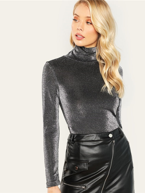 High Neck Glitter Slim Fit Stretchy Tops Long Sleeve-Chic By Night -Silver-XS-Chic By Night