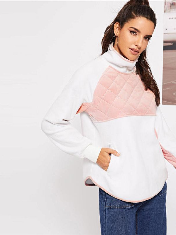 Casual Buttoned High Neck Two Tone Quilted Pullover Sweatshirt-Chic By Night -White-XS-Chic By Night