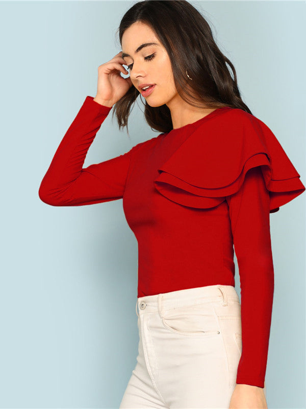 Casual Round Neck Zip Back Ruffle One Sleeve Long-Chic By Night -Red-XS-Chic By Night