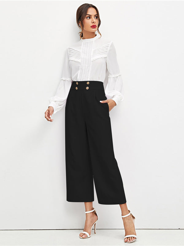 Black Office Lady Solid Double Breasted Embellished Slant Pocket Wide Leg Pants-Chic By Night -Black-XS-Chic By Night