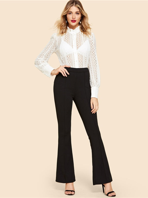 Vintage Solid Contrast Binding Flare Leg Elastic Waist Elegant-Chic By Night -Black-XS-Chic By Night