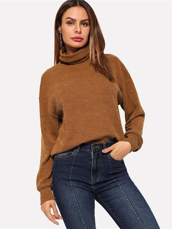 Brown High Neck Solid Pullover Casual Long Sleeve Minimalist Sweatshirts - Chic B Night