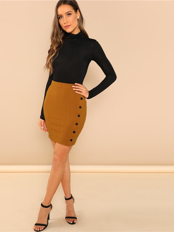 Khaki Office Lady Solid Button Up Jersey Short Wrap Skirt - Chic B Night