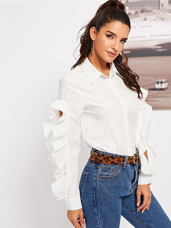 Office Lady Solid Ruffle Trim Button Up Open Sleeve-Chic By Night -White-XS-Chic By Night