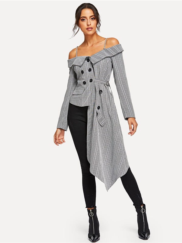 Plaid Blazer Office Lady Long Sleeve Coat-Chic By Night -Gray-XS-Chic By Night