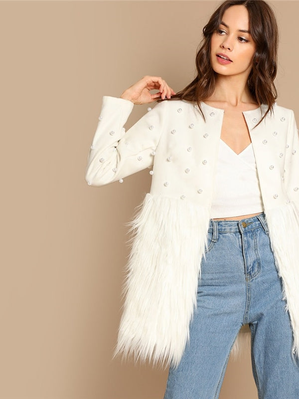 Office Lady Solid Pearl Embellished Faux Fur Round Neck Jacket-Chic By Night -White-XS-Chic By Night