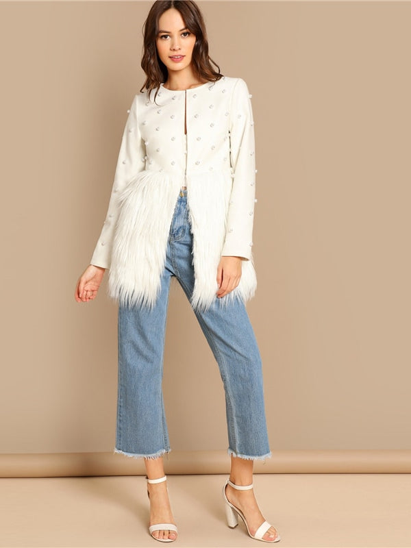White Office Lady Solid Pearl Embellished Faux Fur Round Neck Jacket - Chic B Night