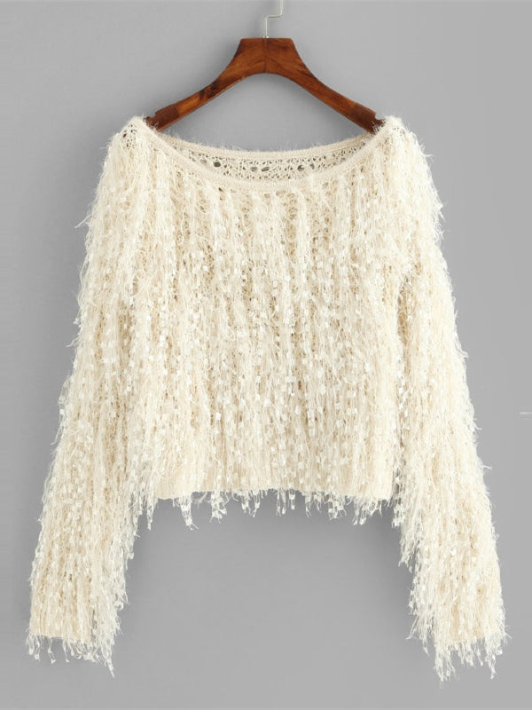 Apricot Loose Knit Fuzzy Fringe Sweater-Chic By Night -Apricot-S-Chic By Night
