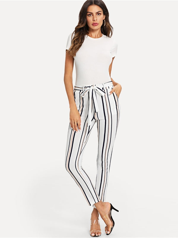 Vertical Striped Skinny Pants-Chic By Night -White-XS-Chic By Night