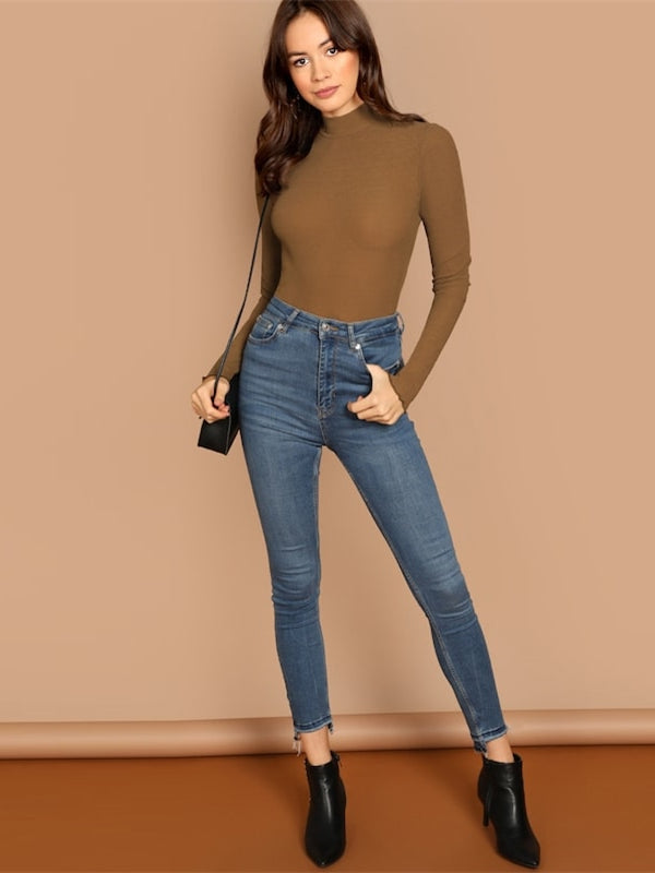 Office Lady Solid Mock Neck Slim Fit Long Sleeve-Chic By Night -Brown-XS-Chic By Night