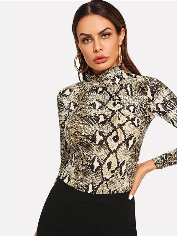 Office Lady High Neck Snakeskin Print Skinny Long Sleeve-Chic By Night -Multi-XS-Chic By Night