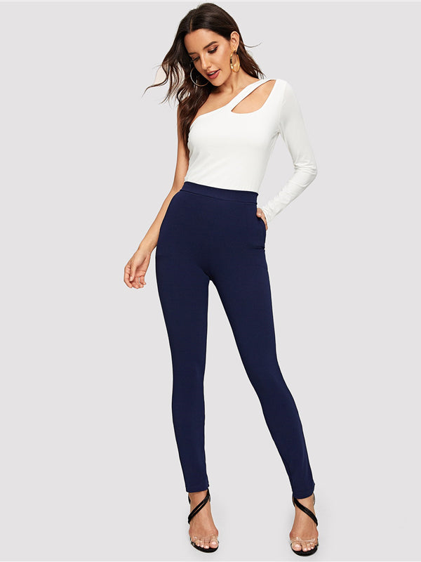 Blue Pocket Side Solid Textured Elastic Waist Skinny Pants-Chic By Night -Blue-XS-Chic By Night