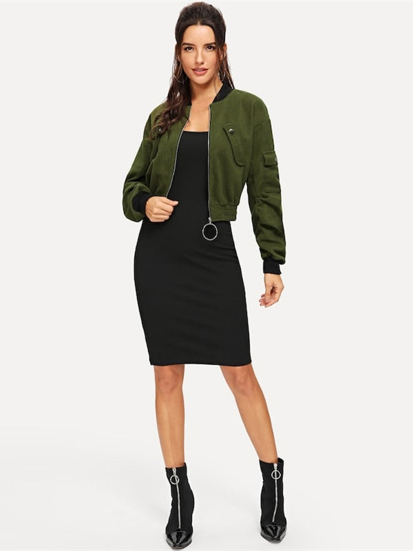 Army Green O-Ring Zip Up Flap Pocket Stand Collar Crop Button Jacket-Chic By Night -Army Green-XS-Chic By Night