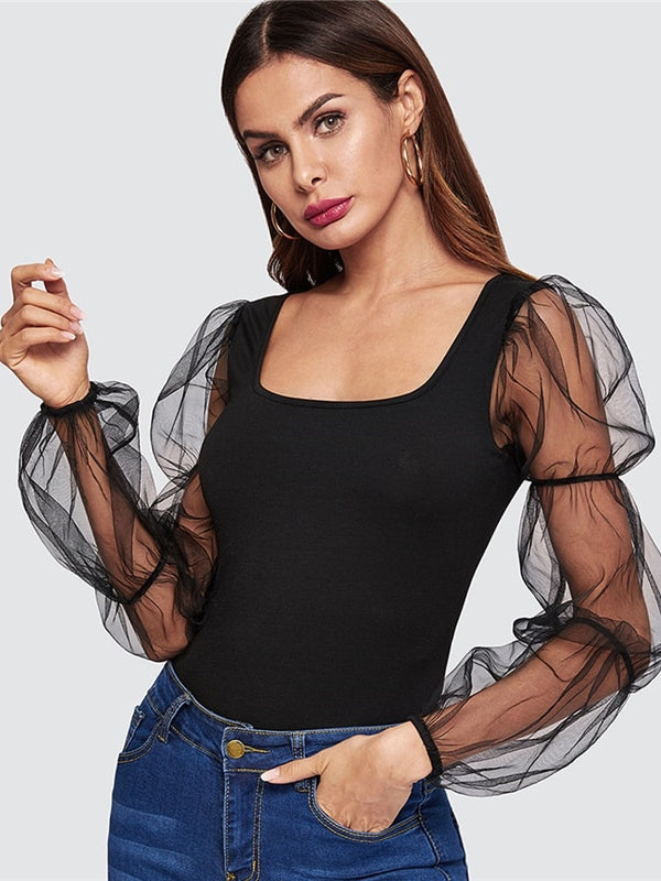 Black Highstreet Mesh Elasticized Square Neckline Puff Sleeve Tops-Chic By Night -Black-XS-Chic By Night