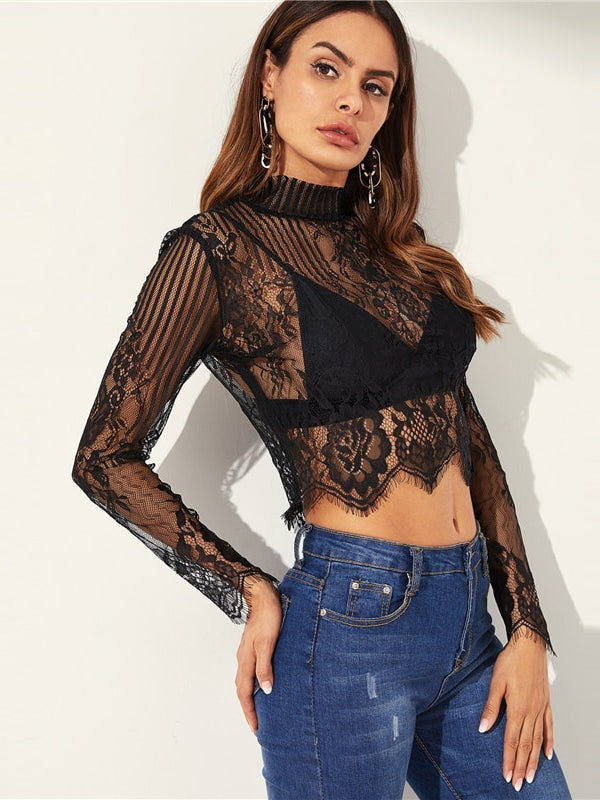 Highstreet Black Mock-neck Sheer Lace Button Slim Fit Stand Collar Top-Chic By Night -Black-XS-Chic By Night