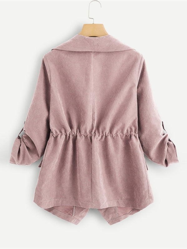 Pink Pocket Front Drawstring Pleated Buttoned Sleeve Open Stitch Solid Trench Coat