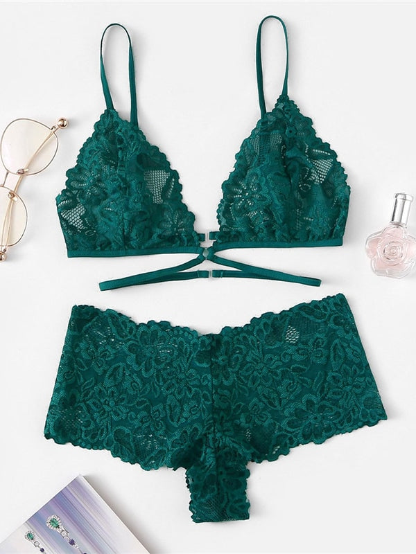 Abiona Green Lingerie Set-Chic By Night -Green-S-Chic By Night