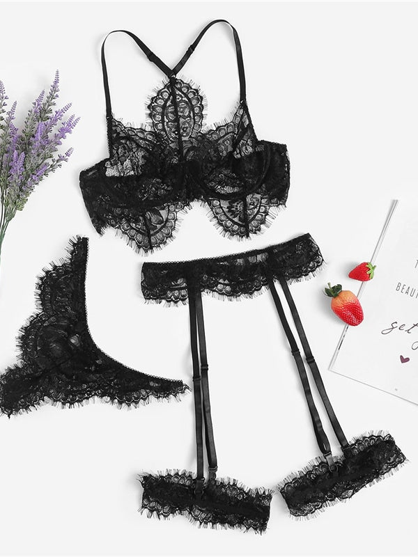 Emiola Black Eyelash Lace Lingerie Set-Chic By Night -Black-L-Chic By Night