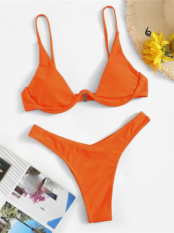 Bolanle Orange Solid Two Pieces Bikini Set-Chic By Night -Orange-S-Chic By Night