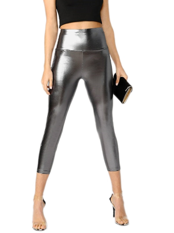 Bosede Silver Solid Waist Metallic Pant-Chic By Night -Silver-XS-Chic By Night