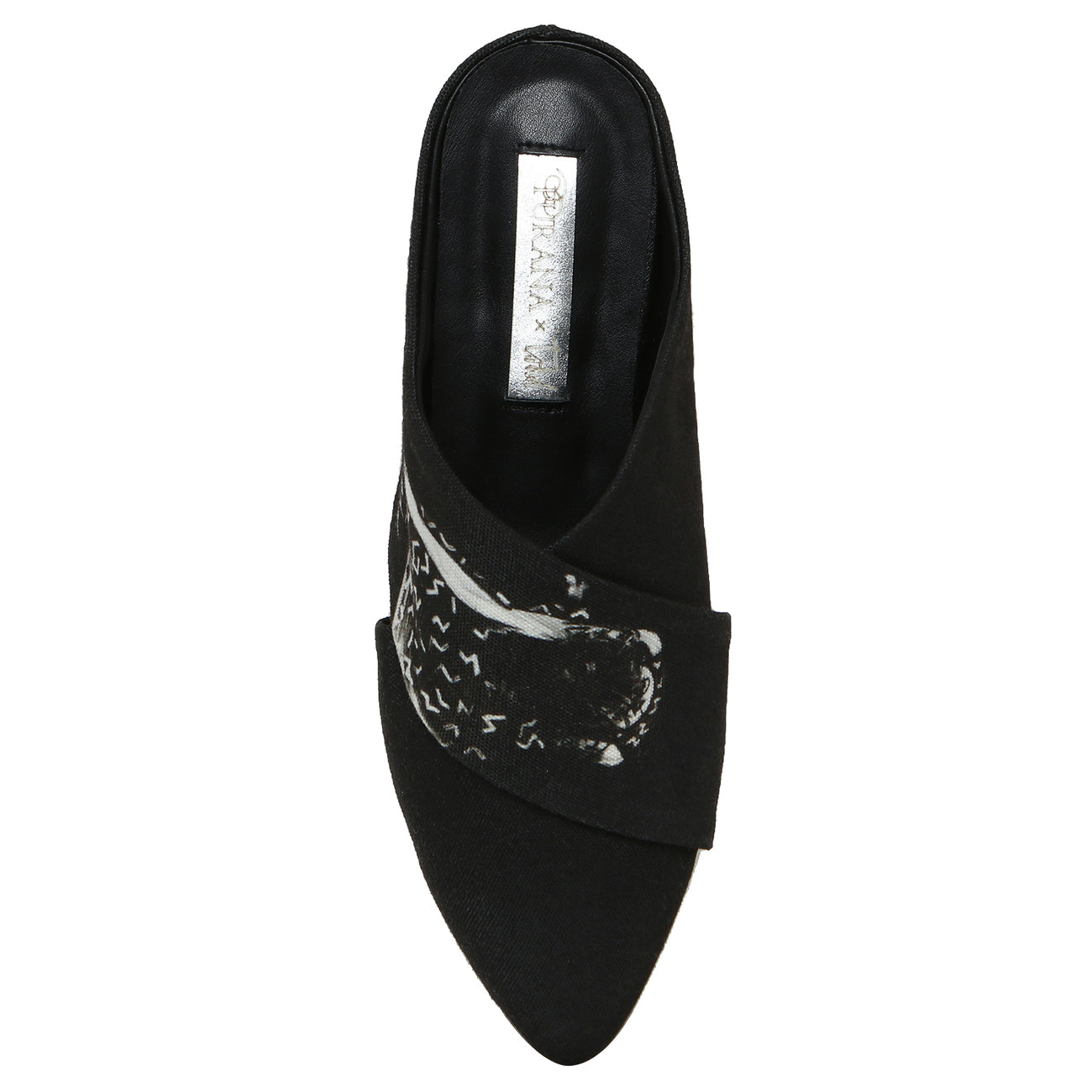 Purana X Geoff Todd Black Pointed Toe Canvas Mules