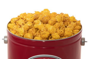 Campbell's Famous Popcorn All Time Most Popular with Cheese Coated Caramel Dichotomy with 1 Flavor 2 Gallon Tin. Popped fresh and delivered fast in gift tins, bags, and boxes. Visit www.campbellsfamouspopcorn.com. Top View