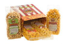Load image into Gallery viewer, Campbell's Famous Popcorn Best Selling Combinationwith Dichotomy, Caramel, Cheddar, Butter with  4 Flavor Box. Popped fresh and delivered fast in gift tins, bags, and boxes. Visit www.campbellsfamouspopcorn.com. Side view with bags