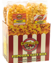 Load image into Gallery viewer, Campbell's Famous Popcorn Best Selling Combinationwith Dichotomy, Caramel, Cheddar, Butter with  4 Flavor Box. Popped fresh and delivered fast in gift tins, bags, and boxes. Visit www.campbellsfamouspopcorn.com. Front view