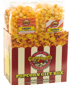 Campbell's Famous Popcorn Best Selling Combinationwith Dichotomy, Caramel, Cheddar, Butter with  4 Flavor Box. Popped fresh and delivered fast in gift tins, bags, and boxes. Visit www.campbellsfamouspopcorn.com. Front view
