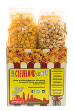 Load image into Gallery viewer, Campbell's Famous Popcorn Best Selling Combinationwith Dichotomy, Caramel, Cheddar, Butter with  4 Flavor Box. Popped fresh and delivered fast in gift tins, bags, and boxes. Visit www.campbellsfamouspopcorn.com. Back of box