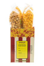 Load image into Gallery viewer, Campbell's Famous Popcorn Best Selling Combinationwith Dichotomy, Caramel, Cheddar, Butter with  4 Flavor Box. Popped fresh and delivered fast in gift tins, bags, and boxes. Visit www.campbellsfamouspopcorn.com. Side view of box