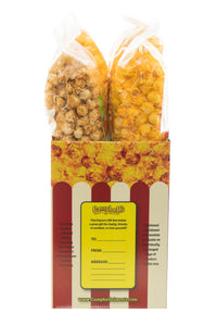 Campbell's Famous Popcorn Best Selling Combinationwith Dichotomy, Caramel, Cheddar, Butter with  4 Flavor Box. Popped fresh and delivered fast in gift tins, bags, and boxes. Visit www.campbellsfamouspopcorn.com. Side view of box