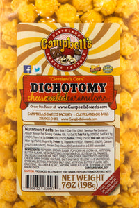 Campbell's Famous Popcorn Everyone's Favorite Trio with Dichotomy, Caramel, Cheddar with 3 Flavor Box. Popped fresh and delivered fast in gift tins, bags, and boxes. Visit www.campbellsfamouspopcorn.com. Dichotomy flavor bag