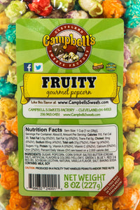 Campbell's Famous Popcorn Sweet Savory Fruity with Dichotomy, Cinnamon Roll, Kettle, Fruity with 6 Flavor Box. Popped fresh and delivered fast in gift tins, bags, and boxes. Visit www.campbellsfamouspopcorn.com. Fruity flavor bag