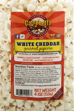 Load image into Gallery viewer, Campbell's Famous Popcorn Sweet Savory Cinnamon with Dichotomy, White Cheddar, Cinnamon Roll with 3 Flavor Box. Popped fresh and delivered fast in gift tins, bags, and boxes. Visit www.campbellsfamouspopcorn.com. White Cheddar flavor bag