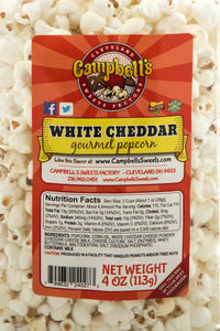 Campbell's Famous Popcorn Sweet Savory Cinnamon with Dichotomy, White Cheddar, Cinnamon Roll with 3 Flavor Box. Popped fresh and delivered fast in gift tins, bags, and boxes. Visit www.campbellsfamouspopcorn.com. White Cheddar flavor bag