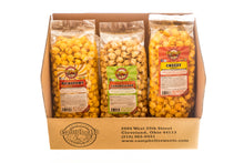 Load image into Gallery viewer, Campbell's Famous Popcorn Everyone's Favorite Trio with Dichotomy, Caramel, Cheddar with 3 Flavor Box. Popped fresh and delivered fast in gift tins, bags, and boxes. Visit www.campbellsfamouspopcorn.com. Box front