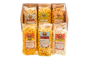 Campbell's Famous Popcorn Game Time Spicy with Nacho Jalapeno, Cheddar, Sweet, Salty with 6 Favor Box. Popped fresh and delivered fast in gift tins, bags, and boxes. Visit www.campbellsfamouspopcorn.com. Front of box