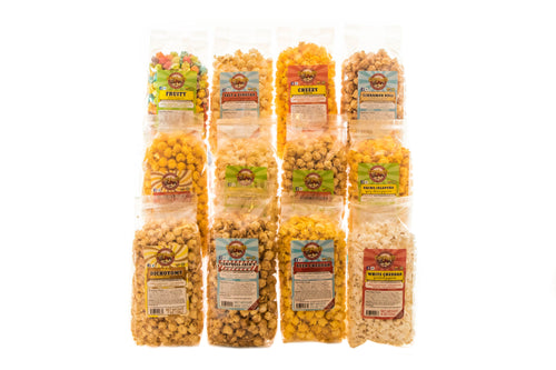 Campbell's Famous Popcorn Party Snack Sampler with Variety of Favorites with 12 Flavor Box. Popped fresh and delivered fast in gift tins, bags, and boxes. Visit www.campbellsfamouspopcorn.com. All bag flavors shown